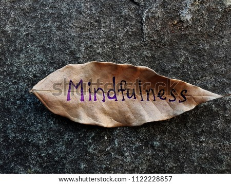 Mindfulness written on a dried leaf #1122228857