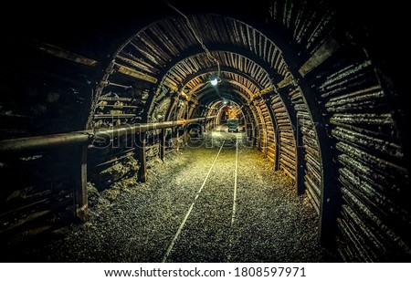 Mine adit tunnel. Mining industry undeground scene