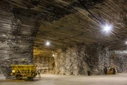 Mine cart in a salt mine in Romania, Europe