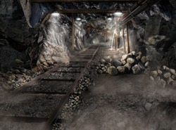 mine the dark cave without miners for underground roller coaster with danger of landfall