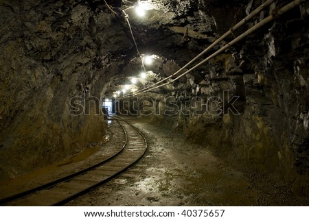 mine tunnel with railroad