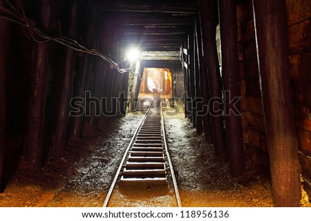 Mine with railroad track underground mining