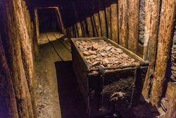Minecart in an abandoned mercury mine in Idrija, Slovenia.