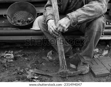 miner having a break