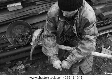 miner having a break from work