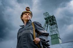 miner in a hard hat, woman, coal mining, mine