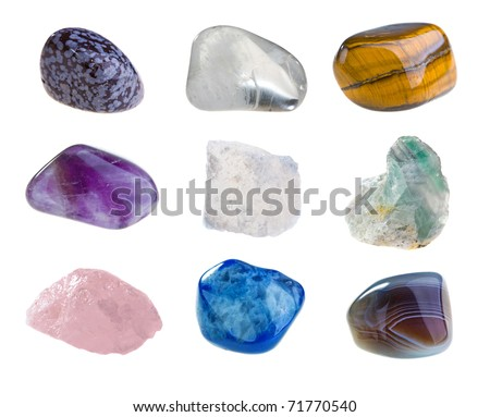 Mineral collection isolated on a white background - stock photo
