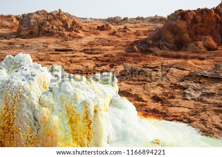 Mineral salt cones forced to the surface in Crater of Dallol Volcano, Danakil Depression, Northern Ethiopia #1166894221