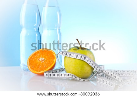 mineral water and fruit