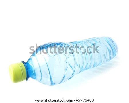 Mineral water bottle lying down and perspective