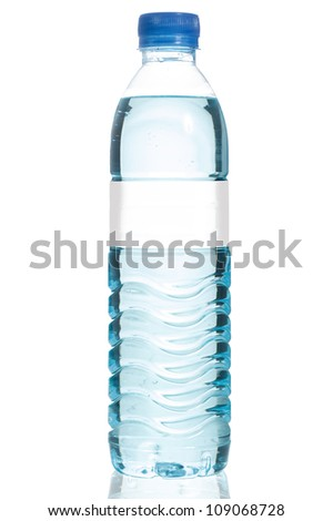 Mineral water bottle with blank label. Isolated on white background