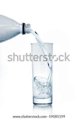 mineral water in glass isolated on a white - stock photo