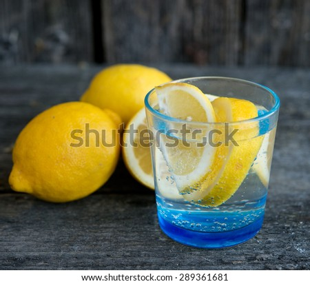 mineral water with a lemon