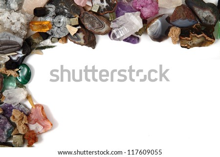 minerals (gemstones) isolated on the white background as nice frame