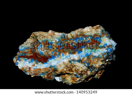 minerals with blue azurite and green malachite on magnesite and black background