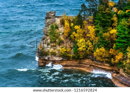 Miners Castle is an exotic rock formation along the clear waters of Lake Superior, Pictured Rocks National Lakeshore, Michigan