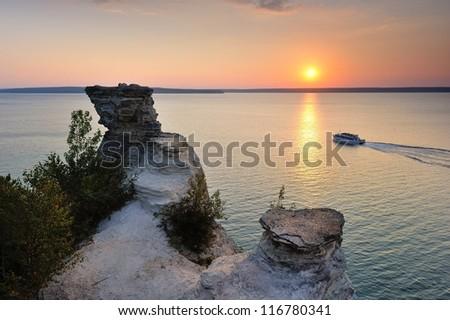 Miners Castle Sunset Cruise Boat Munising, Michigan USA