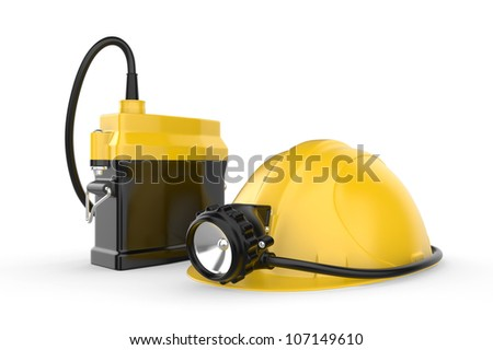 Miners helmet with lamp on a white background. Rescue equipment. 3d illustration.