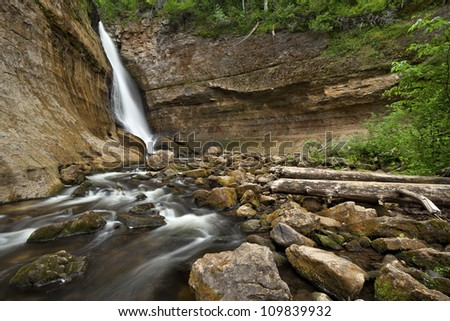 Miners Waterfall. Image of Miners Waterfall located in Pictured Rock National Shoreline, Michigan, USA.