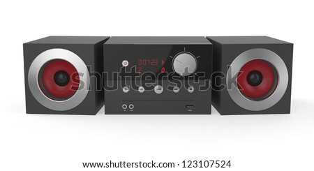 Mini audio system on white background