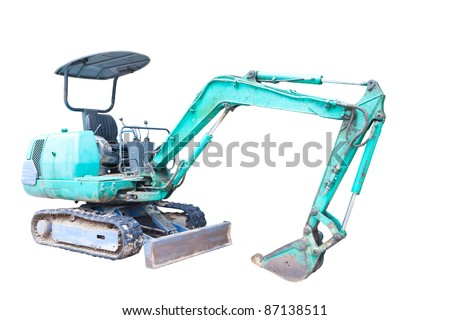 Mini Backhoe isolated on white - stock photo