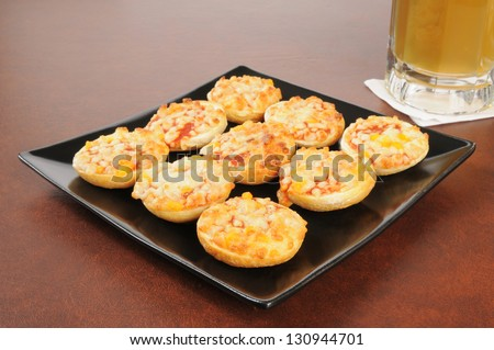 Mini bagels with pizza toppings