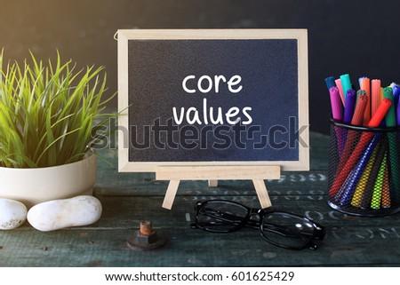 Mini Blackboard Concept Writing: CORE VALUES
