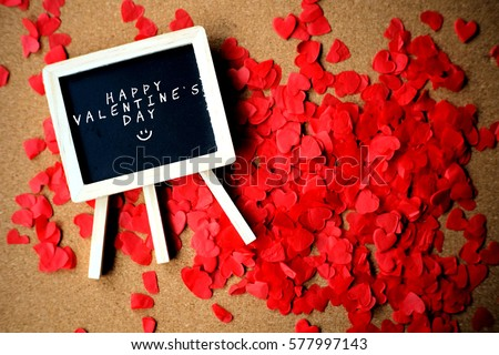 "Mini blackboard written ""HAPPY VALENTINES DAY"" with cut-out red love. #577997143"