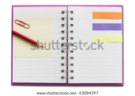 mini blank notebook as white isolate background