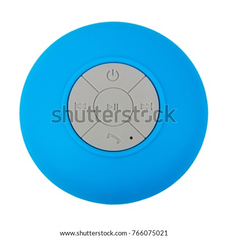Mini Blue Waterproof Bluetooth Wireless Loudspeaker with Mobile Phone Control Knobs on a white background