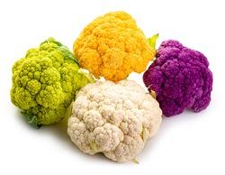 Mini cauliflower. Multi-colored. Purple, yellow, green