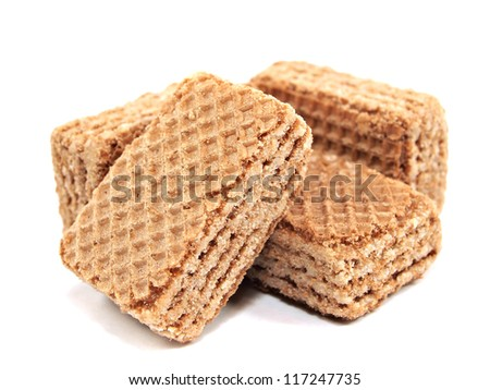 mini chocolate wafers on a white background