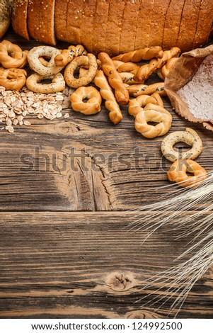 Mini circle pertzels on wooden table
