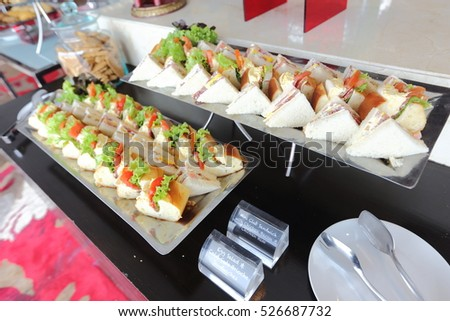 Mini Club Sandwich with chicken beacon ham, Egg Salad Cold Cuts Brioche Sandwiches for Catering, Seminar, Coffee Break, Breakfast, Lunch, Dinner, Buffet and meeting Group.