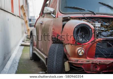 Stock Photo Mini Cooper Wreck