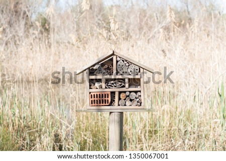 Mini decorative house made of wood with shelves to store organic material of nature. Delta del Llobregat. Les Filipines and the Remolar del Prat. Barcelona, ​​Catalonia, Spain Photo stock ©