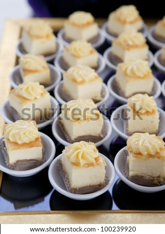 mini desserts at buffet table in restaurant