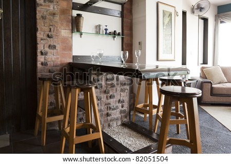 mini drinks bar in a modern apartment stock photo 82051504