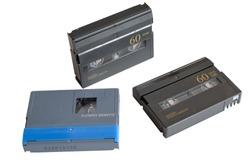 mini DV cassette on white background
