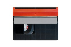 Mini DV video tape isolated on white background. Copy space for text. Old video recording medium from 1990s. Vintage technology.