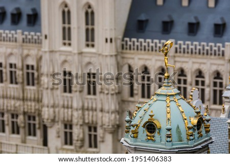 Mini Europe in brussels highlighting the dome of the Maison du Roy D'Espagne. Photo stock ©