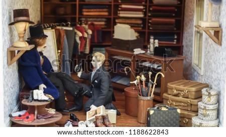 mini figure diorama tailor shop