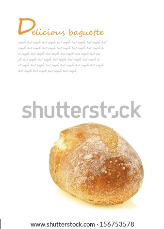 mini french baguette bread on white background with text space #156753578