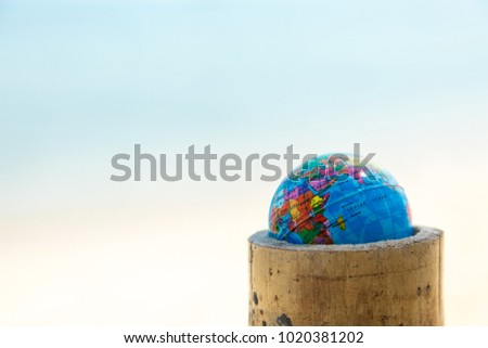 mini globe on a cut of bamboo against the background of the ocean. - Shutterstock ID 1020381202
