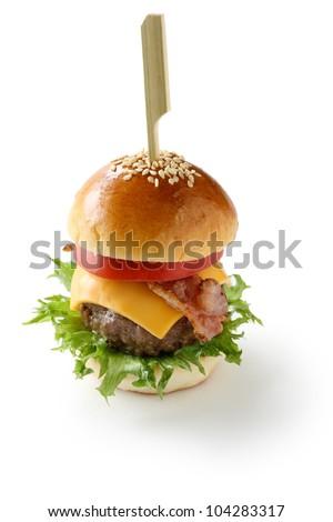 mini hamburger with toothpick