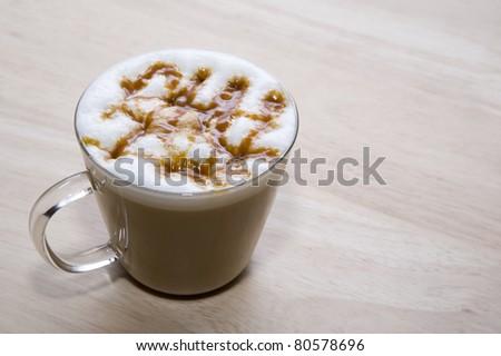 mini hot coffee on wood backgrounds