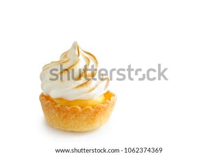 Mini lemon meringue tart isolated on white background