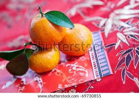 Mini mandarin oranges  with Chinese new  year money packet
