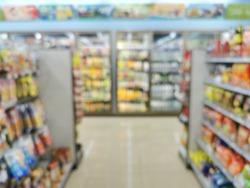 Mini mart and product on shelves blurred background