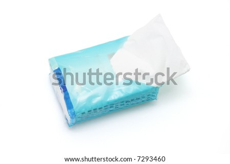 Mini pack of tissue paper on white background